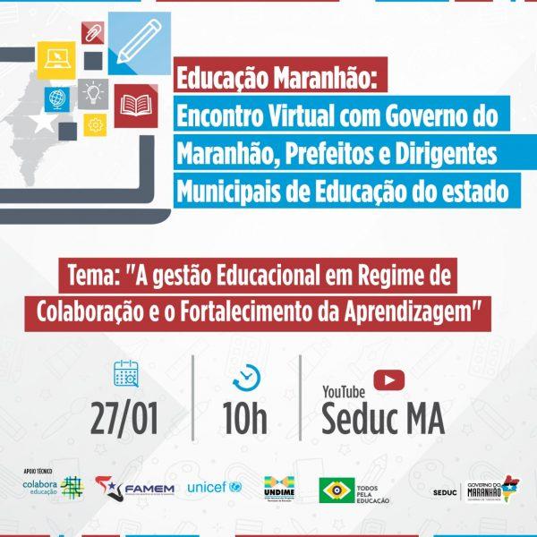Com a presença do governador Flávio Dino, evento reúne prefeitos, especialistas e dirigentes municipais para discutir a Educação maranhense